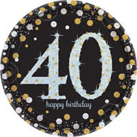 40th Sparkling Celebration Dessert Plates - SPARKLING CELEBRATION - Party Supplies - America Likes To Party