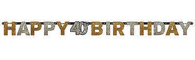 40th Sparkling Celebration Letter Banner - SPARKLING CELEBRATION - Party Supplies - America Likes To Party