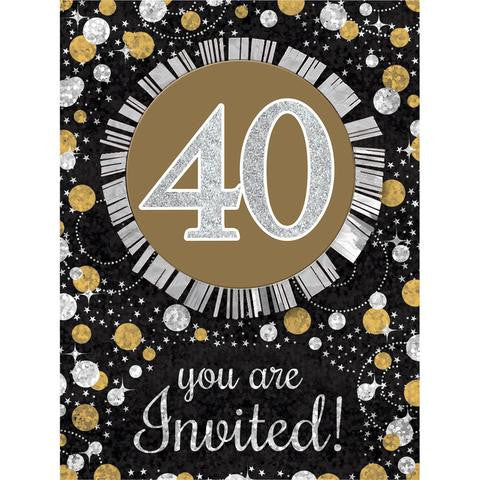 40th Sparkling Celebration Invitations - SPARKLING CELEBRATION - Party Supplies - America Likes To Party