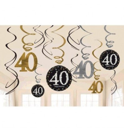 40th Sparkling Celebration Swirl Decorations - SPARKLING CELEBRATION - Party Supplies - America Likes To Party