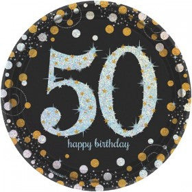 50th Sparkling Celebration Dessert Plates - SPARKLING CELEBRATION - Party Supplies - America Likes To Party