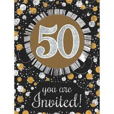 50th Sparkling Celebration Invitations - SPARKLING CELEBRATION - Party Supplies - America Likes To Party
