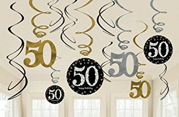50th Sparkling Celebration Swirl Decorations - SPARKLING CELEBRATION - Party Supplies - America Likes To Party