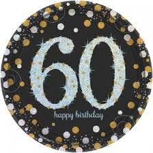 60th Sparkling Celebration Dessert Plates - SPARKLING CELEBRATION - Party Supplies - America Likes To Party