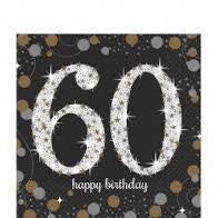 60th Sparkling Celebration Beverage Napkins - SPARKLING CELEBRATION - Party Supplies - America Likes To Party