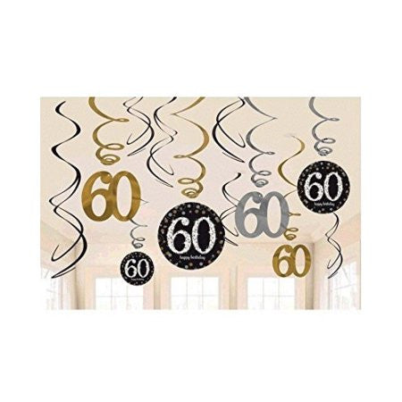60th Sparkling Celebration Swirl Decorations - SPARKLING CELEBRATION - Party Supplies - America Likes To Party