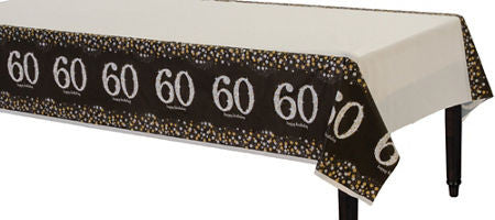 60th Sparkling Celebration Tablecover - SPARKLING CELEBRATION - Party Supplies - America Likes To Party