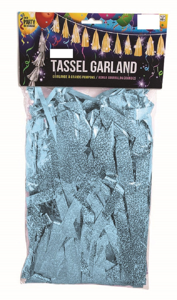 Light Blue Large Metallic Tassel Garland - METALLIC DECORATIONS - Party Supplies - America Likes To Party
