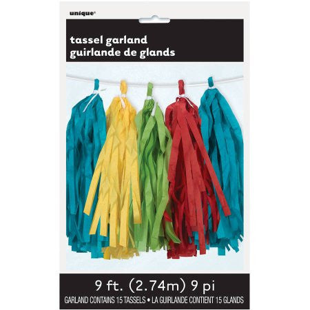 Rainbow Tassel Garland - PAPER TISSUE DECOR - Party Supplies - America Likes To Party