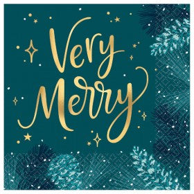 Very Merry Teal Lunch Napkins