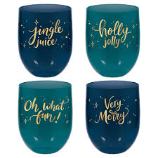 Very Merry Christmas Teal Stemless Wine Glasses