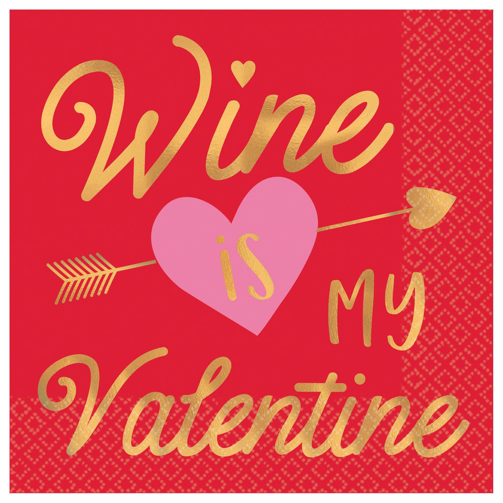 Wine is My Valentine Beverage Napkin