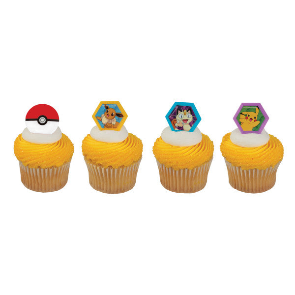 Pokemon Cupcake Rings 12ct - CUPCAKE - Party Supplies - America Likes To Party