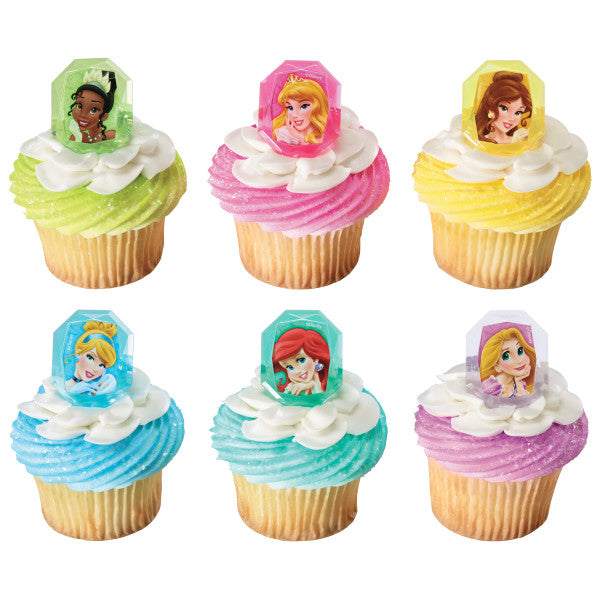 Disney Princess Gem Cupcake Rings 12ct - CUPCAKE - Party Supplies - America Likes To Party