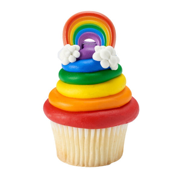 Rainbow Cupcake Rings 12ct - CUPCAKE - Party Supplies - America Likes To Party