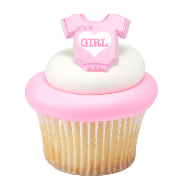 It's A Girl Onesie Cupcake Rings 12ct - CUPCAKE - Party Supplies - America Likes To Party