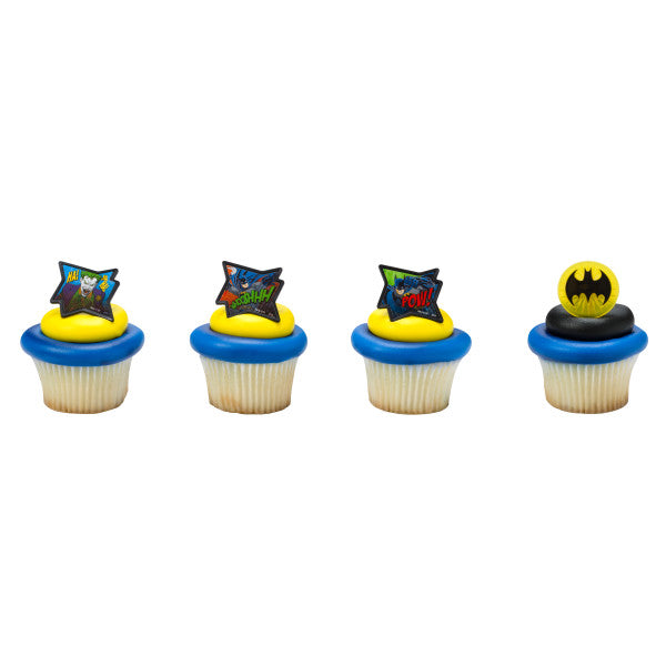 Batman Cupcake Rings 12ct - CUPCAKE - Party Supplies - America Likes To Party