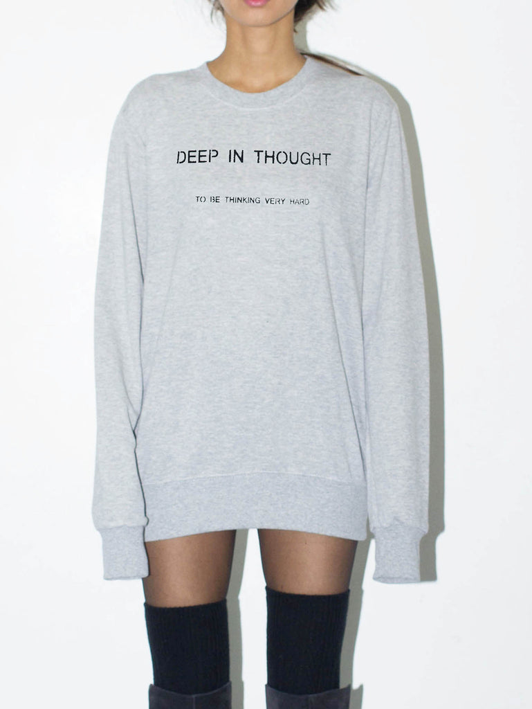 deep in thought, to be thinking very hard unisex sweatshirt by the english tee shop