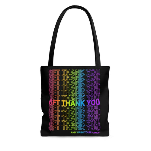 6ft Thank You Social Distancing grocery bag inspired Tote Bag rainbow variant