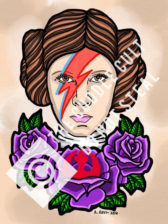 Princess Leia Bowie Tattoo Flash Art Print 8