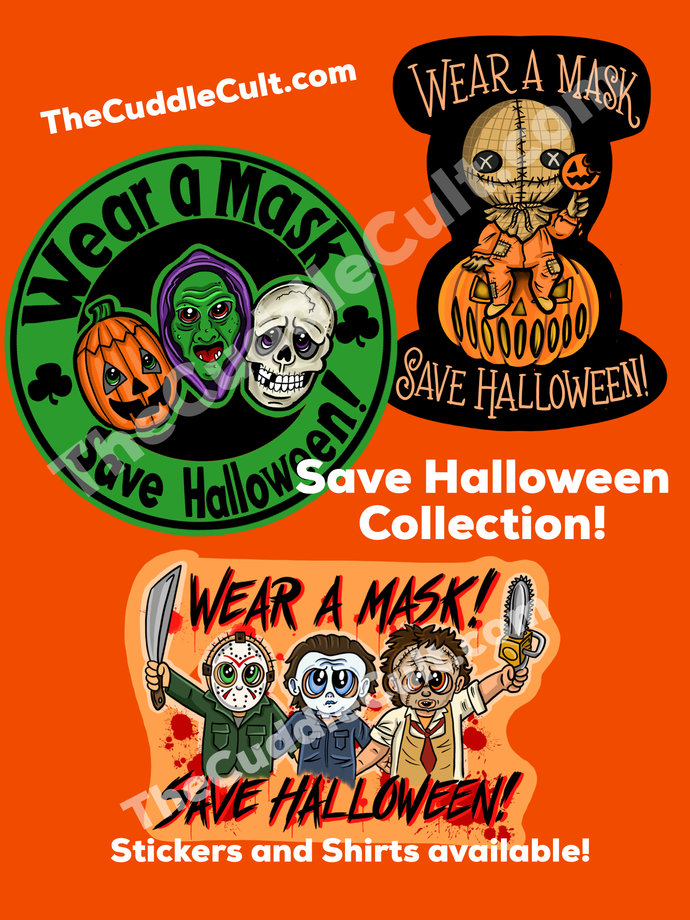 CLEARANCE Wear A Mask Save Halloween! Horror sticker collection