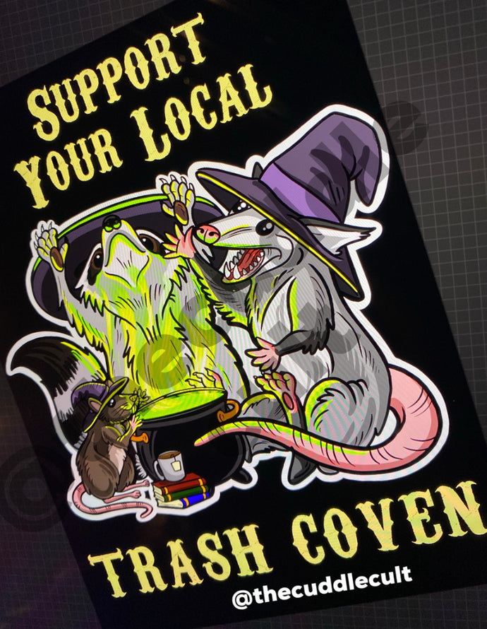 Support Your Local Trash Coven Witch Halloween sticker or print