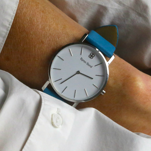 Byron Blue calf's leather strap