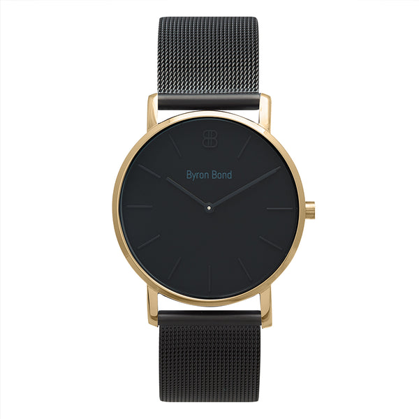 Slim Minimalist Black & Gold Watch Men's & Women's Mesh Strap - Mark 1 - Barbican - 38mm