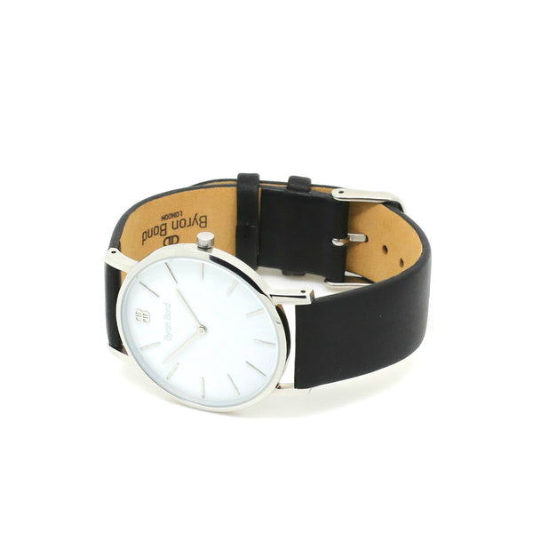 Men's & Women's Thin Silver Watch Leather Strap - Mark 1 - Baker - 38mm