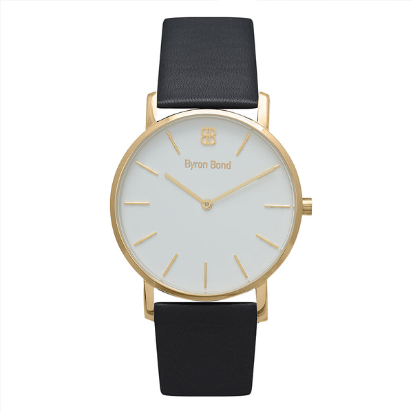 Men's & Women's Thin Gold Watch Black Leather Strap - Mark 1 - Blackfriars - 38mm