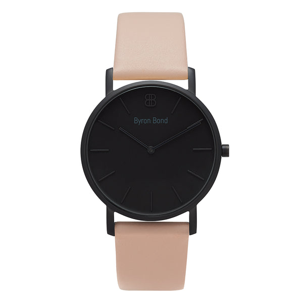 Men's & Women's Thin All Black Watch Pink Leather Strap - Mark 1 - Brixton - 38mm