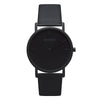 Men's & Women's Thin All Black Watch Leather Strap - Mark 1 - Brompton - 38mm