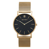 Slim Minimalist Gold Watch Black Dial Watch Men's & Women's Mesh Strap - Mark 1 - Chigwell - 38mm