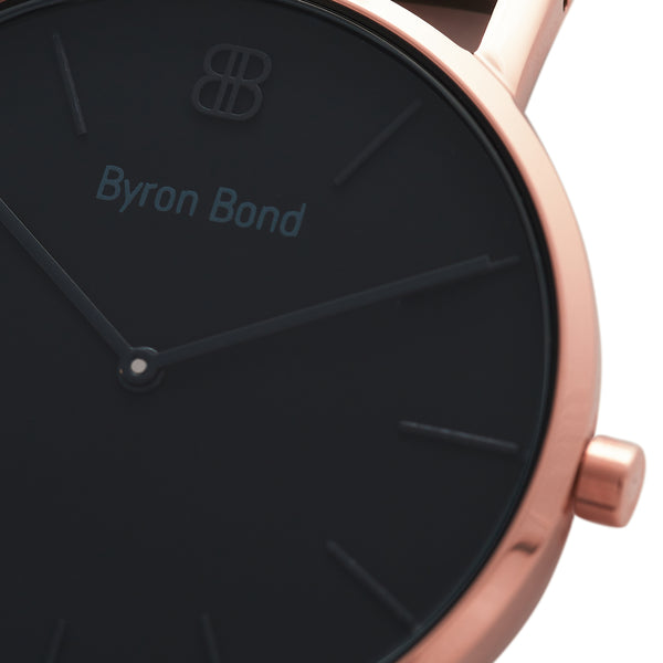 Slim Minimalist Black & Rose Gold Watch Men's & Women's Mesh Strap - Mark 1 - Camden - 38mm