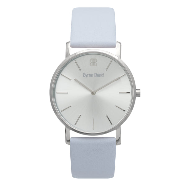 Slim Minimalist All Silver Watch Men's & Women's Grey Leather Strap - Mark 1 - Kew - 38mm