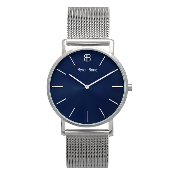 Slim Minimalist Silver Watch Midnight Blue Dial Men's & Women's Mesh Strap - Mark 1 - Paddington - 38mm
