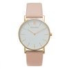 Slim Minimalist Gold Watch Men's & Women's Pink Leather Strap - Mark 1 - Embankment - 38mm