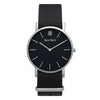 Men's Thin Silver Watch Black Dial Nato Strap - Mark 1 - Bank - 38mm