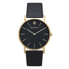 Slim Minimalist Gold Watch Black Dial Men's & Women's Black Leather Strap - Mark 1 - Conduit - 38mm
