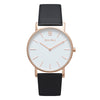 Slim Minimalist Rose Gold Watch Men's & Women's Black Leather Strap - Mark 1 - Wardour - 38mm