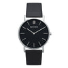 Slim Minimalist Silver Watch Black Dial Men's & Women's Black Leather Strap - Mark 1 - Latimer - 38mm