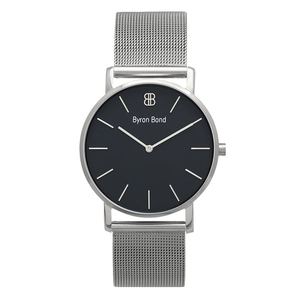 Slim Minimalist Silver Watch Black Dial Men's & Women's Mesh Strap - Mark 1 - Bayswater - 38mm