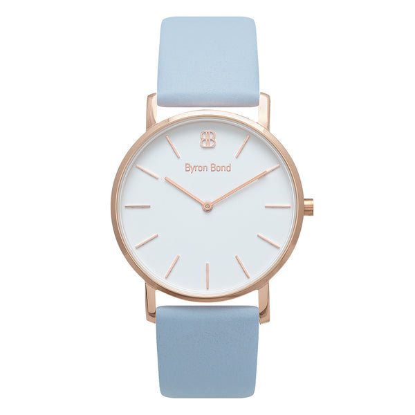Slim Minimalist Rose Gold Watch Men's & Women's Grey Leather Strap - Mark 1 - Fitzrovia - 38mm