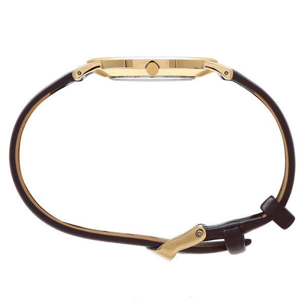 Slim Minimalist Gold Watch Men's & Women's Brown Leather Strap - Mark 1 - Knightsbridge - 38mm