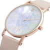 Slim Minimalist Rose Gold Watch Pearl Dial Men's & Women's Pink Leather Strap - Mark 1 - Mayfair - 38mm