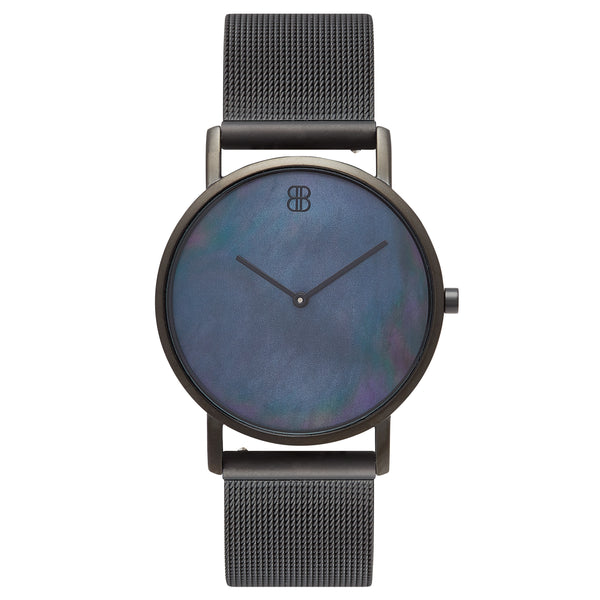 Men's & Women's Slim Minimalist All Black Pearl Dial Watch Men's & Women's Black Mesh Strap - Mark 1 - Peckham - 38mm