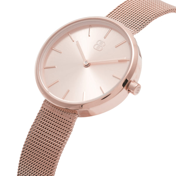 Women's Round All Rose Gold Watch Milanese Strap - Mark 2 - Kensington - 30mm
