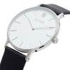 Men's Thin Silver Watch Black Leather Strap - Mark 3 - Baker - 41mm