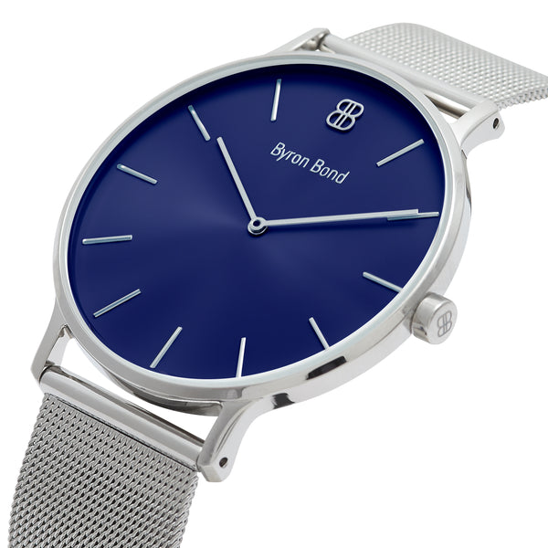 Men's Thin Silver Watch Blue Dial Mesh Strap - Mark 3 - Paddington - 41mm