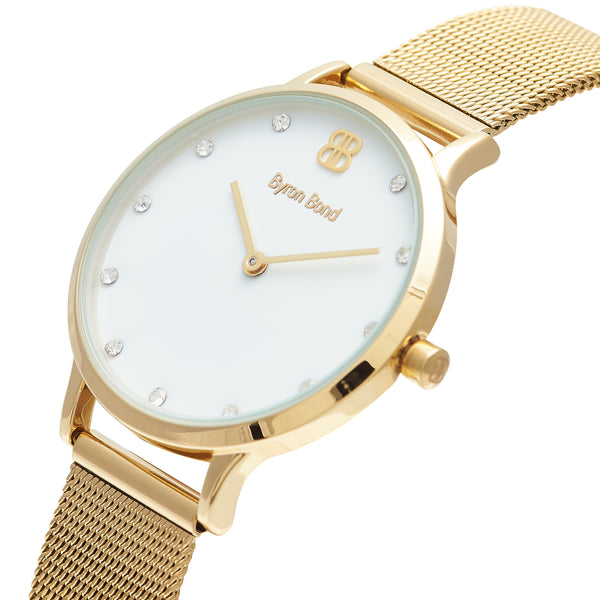 Women's Small Gold Watch White Dial with Crystals Mesh Strap - Mark 5 - Camden - 32mm